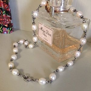 "💝PRICE FIRM""14k white Gold/pearl 18""necklace💕"
